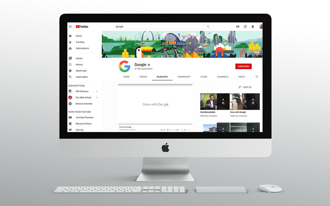 YouTube screen